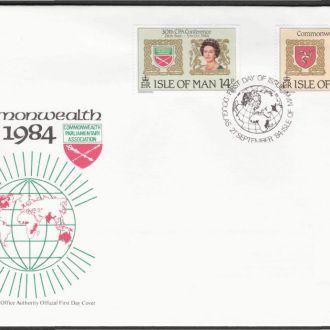 Мэн о-в 1984 КОРОЛЕВА ЕЛИЗАВЕТА II МОНАРХИЯ ГОСУДАРСТВО ПОЛИТИКА ГЕРАЛЬДИКА ГЕРБ КПД Mi.270-271
