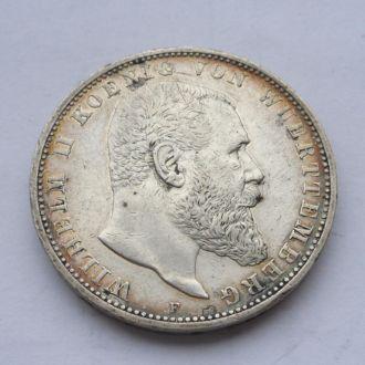 Германия Вюртемберг 5 марок 1908 г