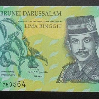 Бруней 5 долларов 2002 UNC