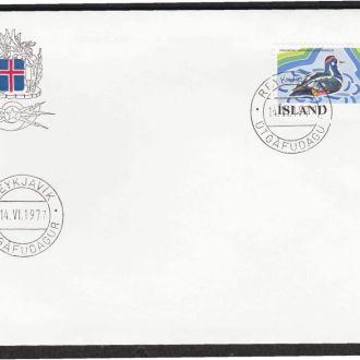 Исландия 1977 ФАУНА ВОДОПЛАВАЮЩАЯ ПТИЦА УТКА ОРНИТОЛОГИЯ ДИКАЯ ПРИРОДА КПД Mi.524