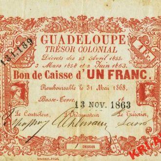 Гваделупа 1 франк (крона) 1863 год. КОПИЯ