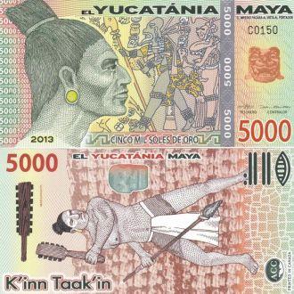 Yucatania Юкатан - 5000 Soles Oro 2013 UNC JavirNV