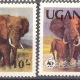 Уганда 1983 ВВФ WWF фауна слоны ** о