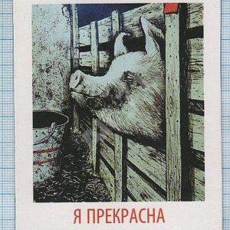 Магнит на холодильник.  Свинья. Я прекрасна. Юмор Украина.
