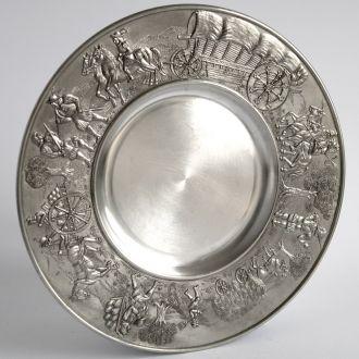 Оловянная тарелка панно Rosenheim Zinn 95% Germany