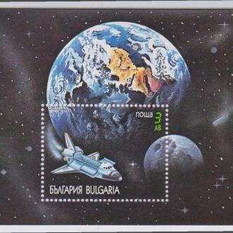 Болгария 1991 АТЛАНТИС КОСМИЧЕСКИЙ КОРАБЛЬ ПОЛЁТ КОСМОС Bl.215A Mi.3917**