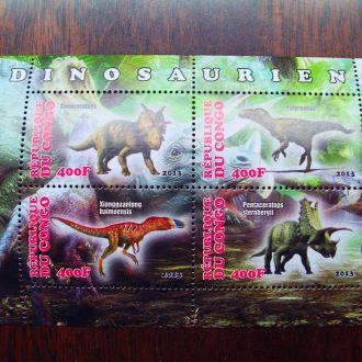Конго.2013г. Фауна. Динозавры. Почтовый блок. MNH