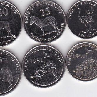 Эритрея набор 1 5 10 25 50 100 Cents 1997 aUNCUNC