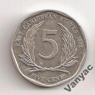 Восточные Карибские Штаты 5 Центов 2002