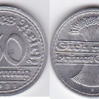 Germany Германия - 50 Pfennig 1921 -F XF+ JavirNV