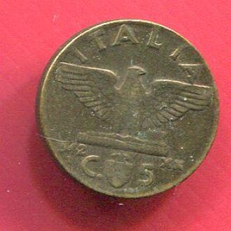 Италия 5 чентизимо 1942 Эммануил III,Муссолини