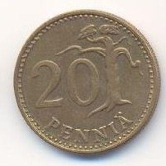 монета 20 пенни 1977 Финляндия