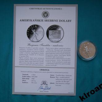 1 доллар 2006 ученый Б Франклин  ПРУФ + сертификат