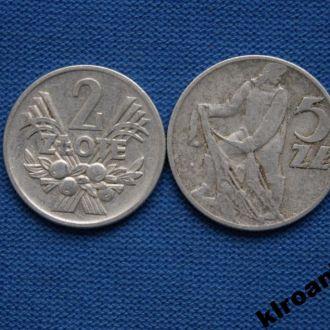 СУПЕРЦЕНА Польша 2 и 5  злотых 1960 г