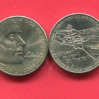 США 5 центов 2005 UNC Океан из рола!