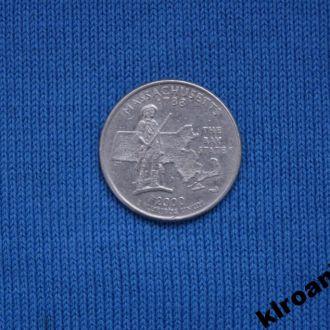 США 25 центов квотер 2000 г D Массачусетс