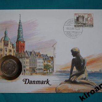 Дания 1 крона 1985 UNC + конверт