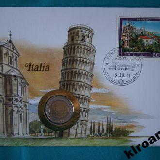 Италия 500 лир 1989 г UNC + конверт