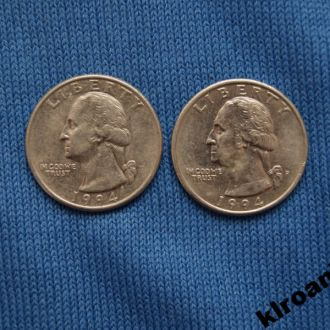 США 25 центов квотер 1994 г D Р