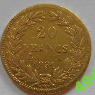 20 франков 1831 год,Франция,золото