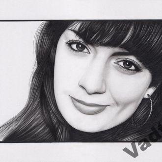 портрет, дівчина, простий олівець