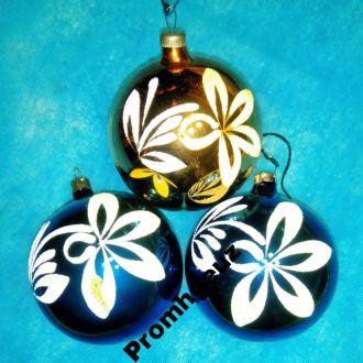 Новогодние ел.  игрушки Шар большой с цветком 3 шт