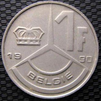 Бельгия 1 франк 1990 год BELGIE