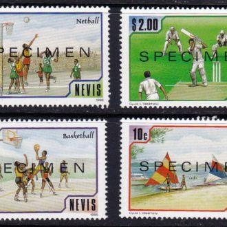 Невис,спорт,4 марки,образец-4,5 михель евро