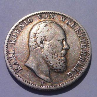 Германия 2 марки 1877 г Вюртемберг  Редкие!