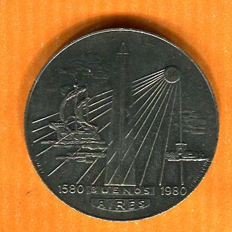 Медаль Аргентина 400 лет Корабль Парусник Открытия