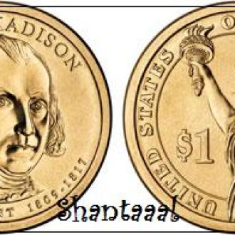 Shantaaal, США 1 доллар 2007, 4 президент Джеймс Мэдисон (1809—1817)