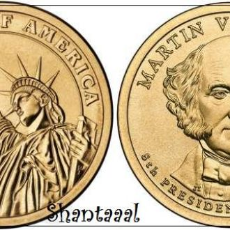 Shantaaal, США 1 доллар 2008, 8 президент Мартин Ван Бюрен (1837-1841)
