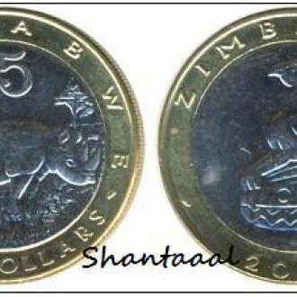 Shantааal, 5 долларов Зимбабве Носорог 2002