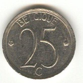 25 бельгийских сантимов 1966