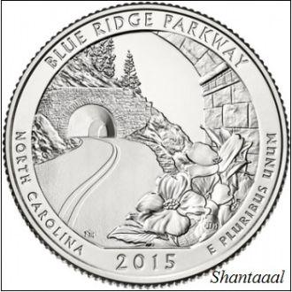 Shantal, США 25 центов 2015, 28 Парк Автомагистраль Блу-Ридж, штат Северная Каролина
