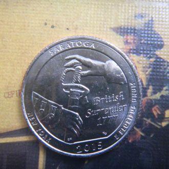 США 25 центов Исторический парк Саратога 2015