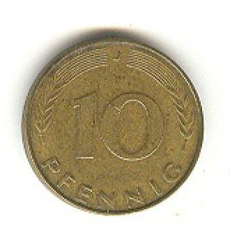 10 пфеннигов 1991 J