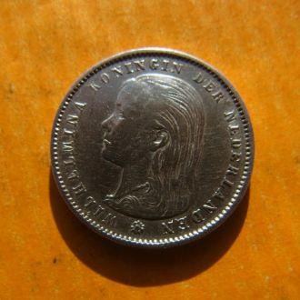 Нидерланды 25 центов 1896 Редкий год!Серебро