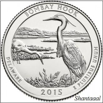 Shantal, США 25 центов 2015, 29 Парк Национальное убежище дикой природы Бомбай-Хук, штат Делавэр S