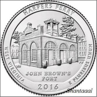 Shantal, США 25 центов 2016, 33 Парк Национальный исторический парк Харперс Ферри, штат Западная Вир