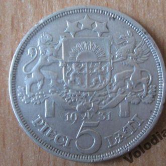 5 лат 1931. Латвія. Срібло. Серебро.
