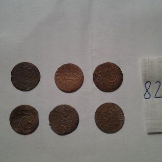 Серебрянные средневековые монеты.6 штук.Нечищенные