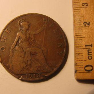 Великобритания один пенни 1 пенні one penny 1913