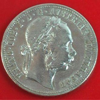 ОДИН ФЛОРИН 1875 г. СЕРЕБРО АВСТРО-ВЕНГРИЯ 12,10гр