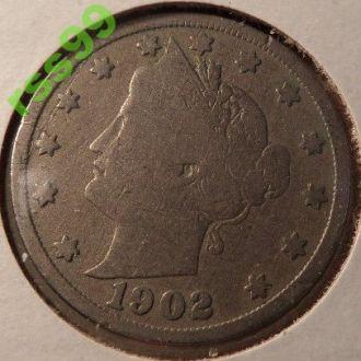 США 5 центов 1902 год