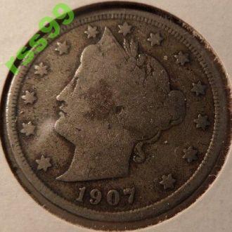 США 5 центов 1907 год