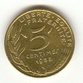 5 сантимов Франция 1988