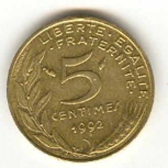 5 сантимов Франция 1992