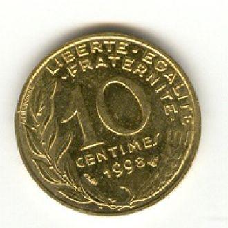 10 сантимов Франция 1998
