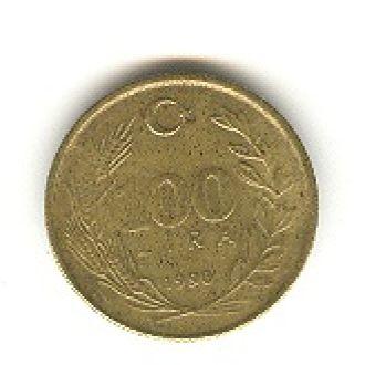 100 турецких лир 1990